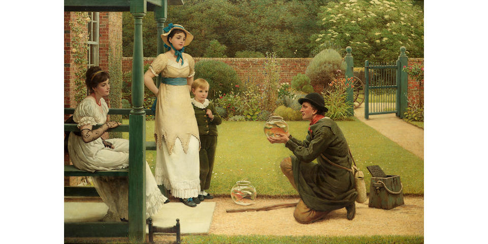 George Dunlop Leslie, RA (British 1835-1921) The goldfish seller 75.5 x 111 cm. (29 3/4 x 43 1/2 in.)