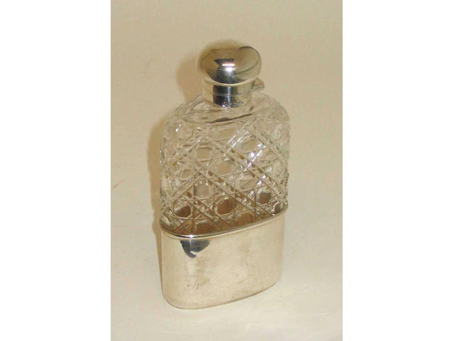 A Victorian mounted cut glass hip flask, 1892,