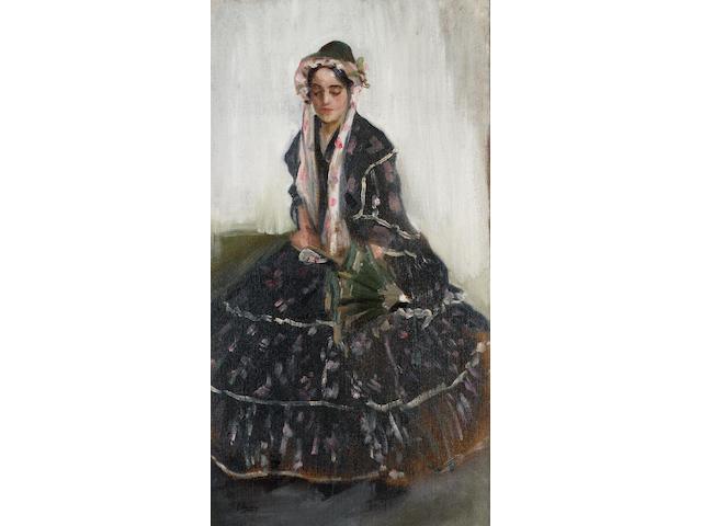Sir John Lavery R.H.A., R.A., R.S.A. (1856-1941) Lady with a parasol 69 x 37.5 cm. (27 1/8 x 14 3/4