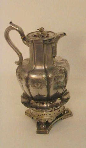 A William IV hot water pot with stand and burner By William Barber or William Barrett II, 1836,