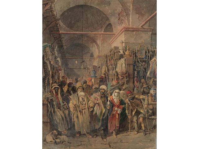 Vittorio Amadeo, 5th Count Preziosi (Maltese, 1816-1882) The Grand Bazaar, Istanbul 60 x 46 cm. (23 1/2 x 18 in.) unframed