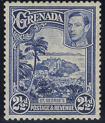 Grenada: 1938-50 2½d. bright blue perf. 12½ x 13½, fine mint example of this rare stamp. R.P.S. Certificate (1972). (1128)
