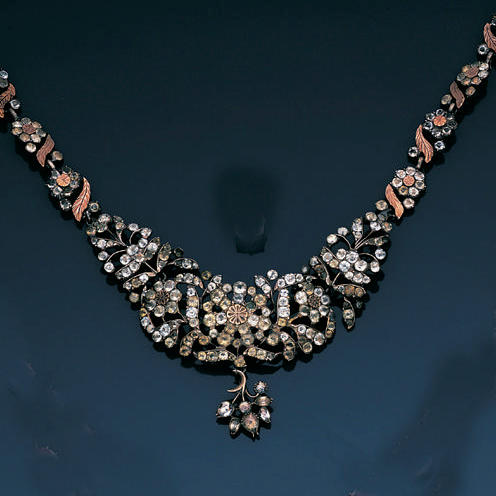 A colourless paste necklace, probably Portuguese,