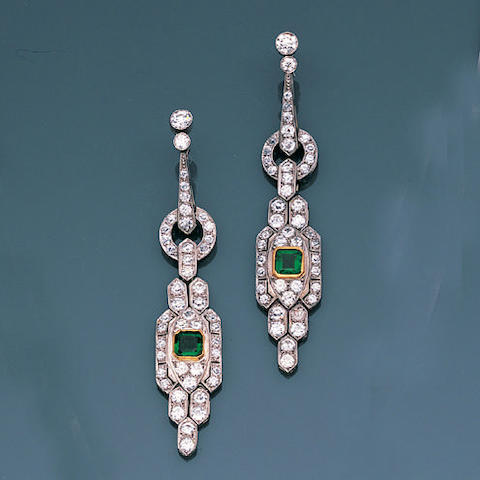 A pair of emerald and diamond earpendants