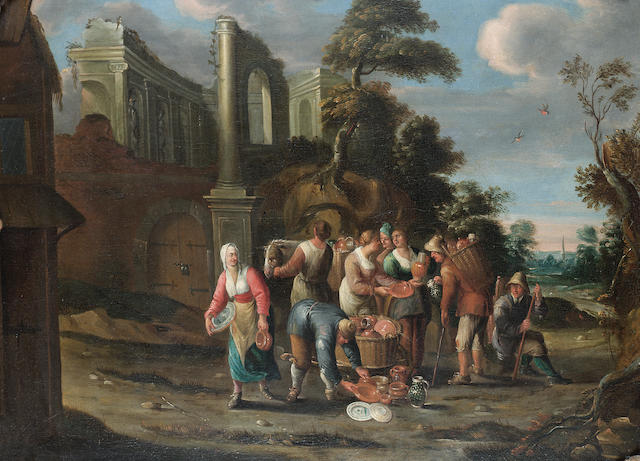 Circle of Jan Anton Garemyn (1712-Bruges-1799) A mussel seller and other figures on a town street; and A traveller selling pots 59.8 x 82 cm. (23½ x 32¼ in.) (2)