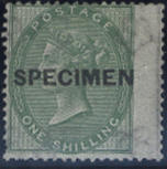 """1855-57: 1/- deep green, optd. """"SPECIMEN"""" type 4, one pulled perf., otherwise fine. R.P.S. Certificate (1967)."""