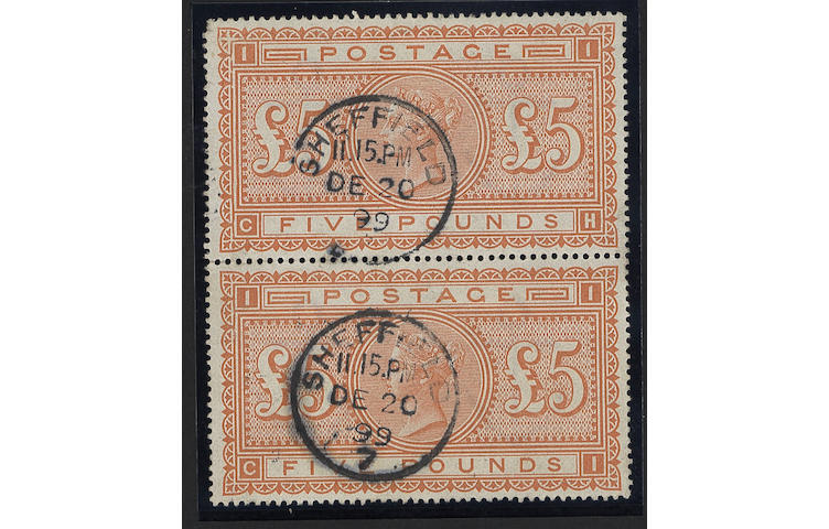 1882-83 wmk Anchor: £5 orange CH-CI used vertical pair, fine, slightly oily Sheffield c.d.s's, scarce.