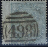 1855-57: 1/- green on azure, one pulled perf. otherwise fine.