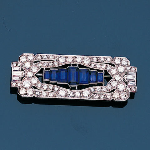 An art deco sapphire and diamond plaque brooch,