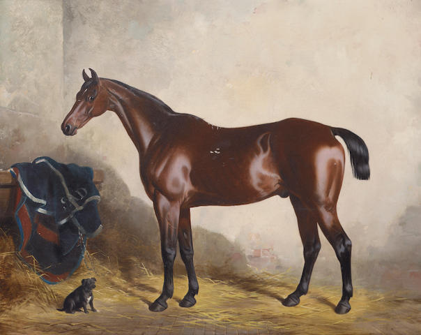 "William Barraud (British 1810-1850) ""Cricket"" and ""Myrtle"": a dark bay horse and a dog in a stable 4"