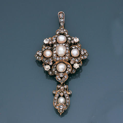 A late 19th century diamond and pearl pendant,