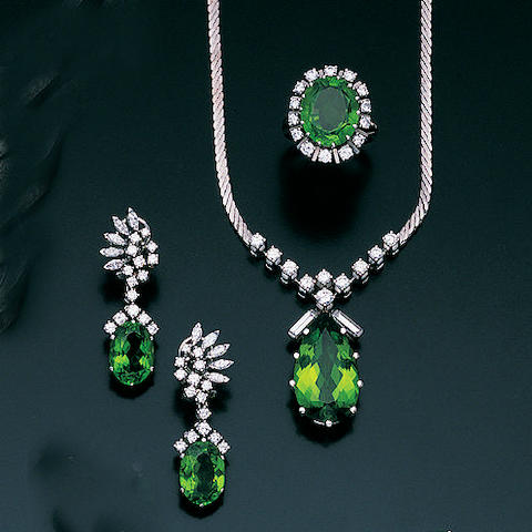 A diamond and peridot parure,, by Kessenich