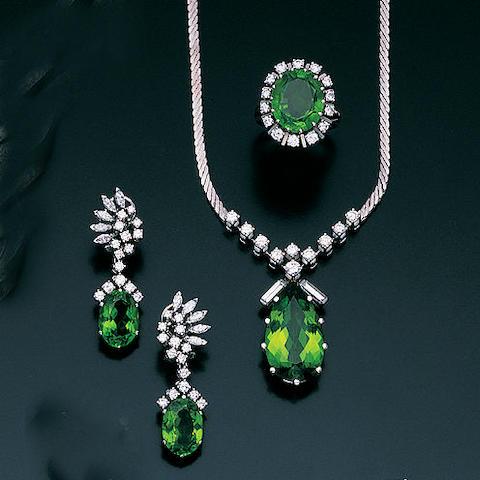 A diamond and peridot parure,, by Kessenich