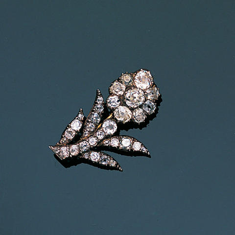 An early 19th century diamond flower jewel,