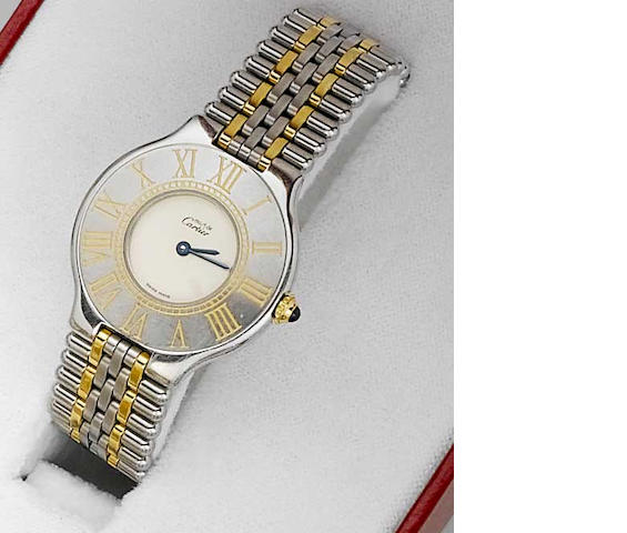 Cartier. A gents steel and gold plated quartz bracelet watch  Must de Cartier 21, No.B07907, 1990s