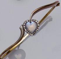 A diamond and moonstone bangle