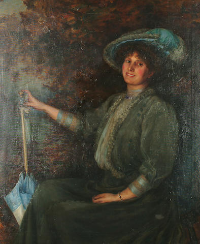 Circle of Sir Samuel Henry William Llewllyn Portrait of a lady, seated, wearing a blue hat and dress and holding a blue parasol, 120 x 105.5 cm (47 1/4 x 41 1/2 in)
