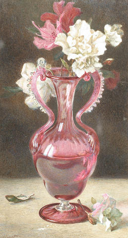 Helen Cordelia Angell (British, 1847-1884) Still life of flowers in a red glass vase, 23.5 x 12.5 cm