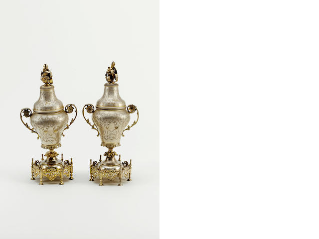 Two Ottoman parcel-gilt silver Rosewater Sprinkler and Incense Burner Turkey, Period of 'Abdulhamid