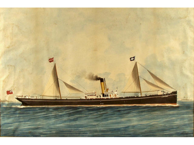 A Layso Genoa 1897 A pair of pictures of the Steam ship 'The Lady Gray' 39cm x 58cm.