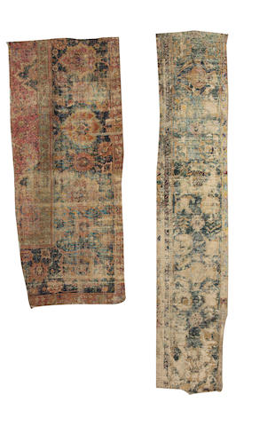 A 17th century Isfahan fragment Central Persia, 6 ft 9 in x 3 ft (206 x 91 cm) and another fragment (2)