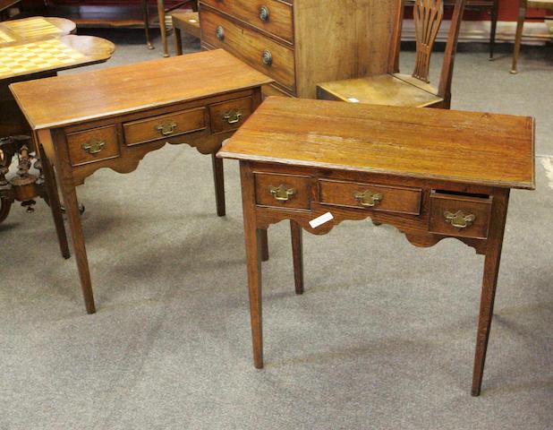 A near pair of early 19th Century oak Lowboys,