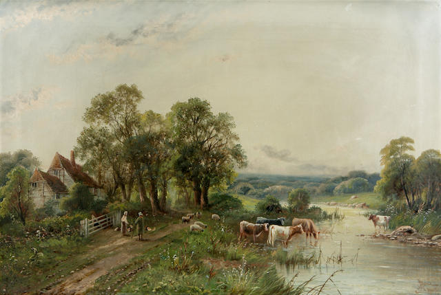 John Henry Boel Cattle watering and figures on a path beside a farmhouse 51cm x 76cm
