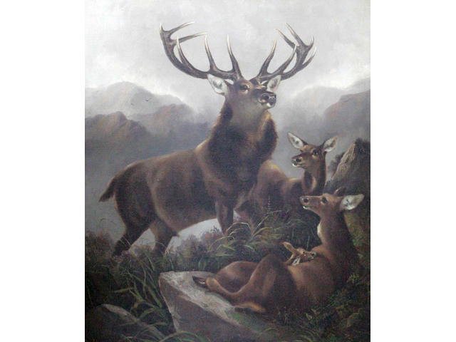 Robert Cleminson (19thc) Stag and hinds in a mountain landscape 75 x 62cm