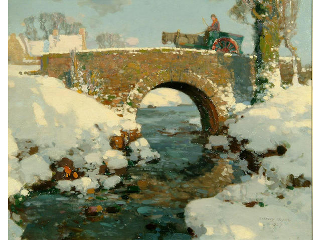 Stanley Royle R.B.A., A.R.W.A. (1888-1961) A river landscape in the snow, a figure, horse and cart crossing a bridge 40 x 49cm.