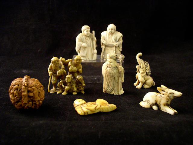 Seven ivory netsuke Meiji period and later