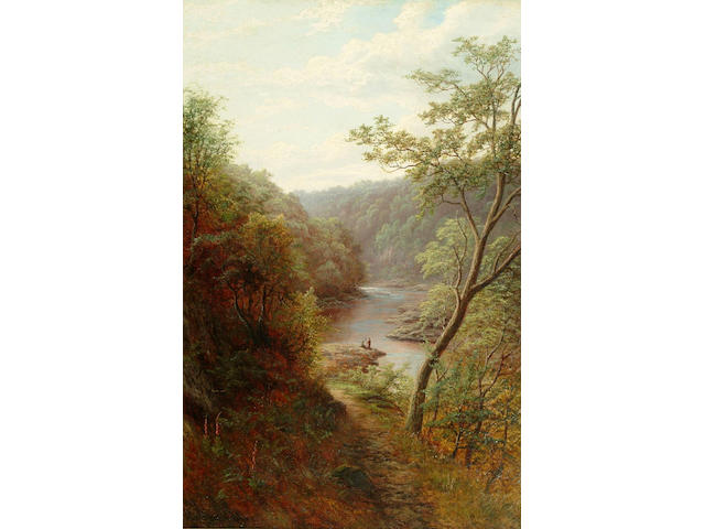 William Mellor (1851-1931) 'Wharfe above the Strid, Bolton Woods, Yorskhire'; 'A Peep of Bolton Abbey, from the Strid, Yorkshire' 90 x 60cms.