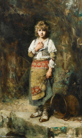 Alexei Alexeevich Harlamoff (Russian 1842-1933) Portrait of a young girl 88 x 52 cm. (34 1/2 x 20 1/