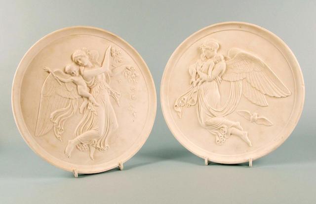 A pair of large Copenhagen bisque plaques circa 1830-45,