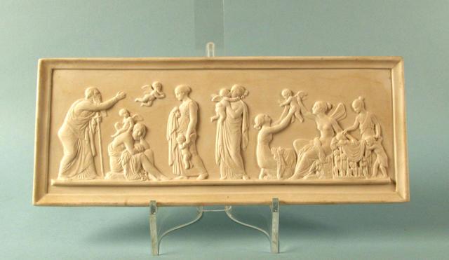 A rectangular Copenhagen bisque plaque 1830-45,