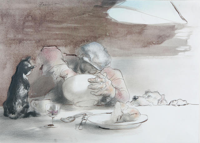 """Edmund Blampied (Jersey 1886-1966) """"Leave some for us"""", a man wearing a cloth cap seated at a table eating a meal, avidly watched by a cat and dog, 28.5 x 39.7cm,"""