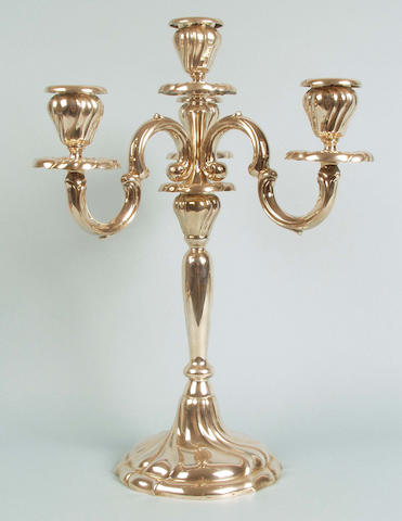 A German silver four-light candelabrum F J Schröder, early 20th Century,