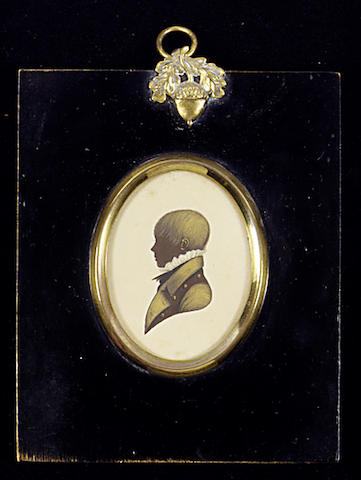 Edward Foster, A silhouette of a Child, profile to the left, wearing coat with brass buttons and high frilled collar