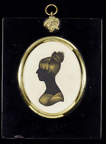 Mr. Jeffreson, A silhouette of a young Lady, profile to the left, wearing lace-trimmed dress, her hair in an Apollo knot