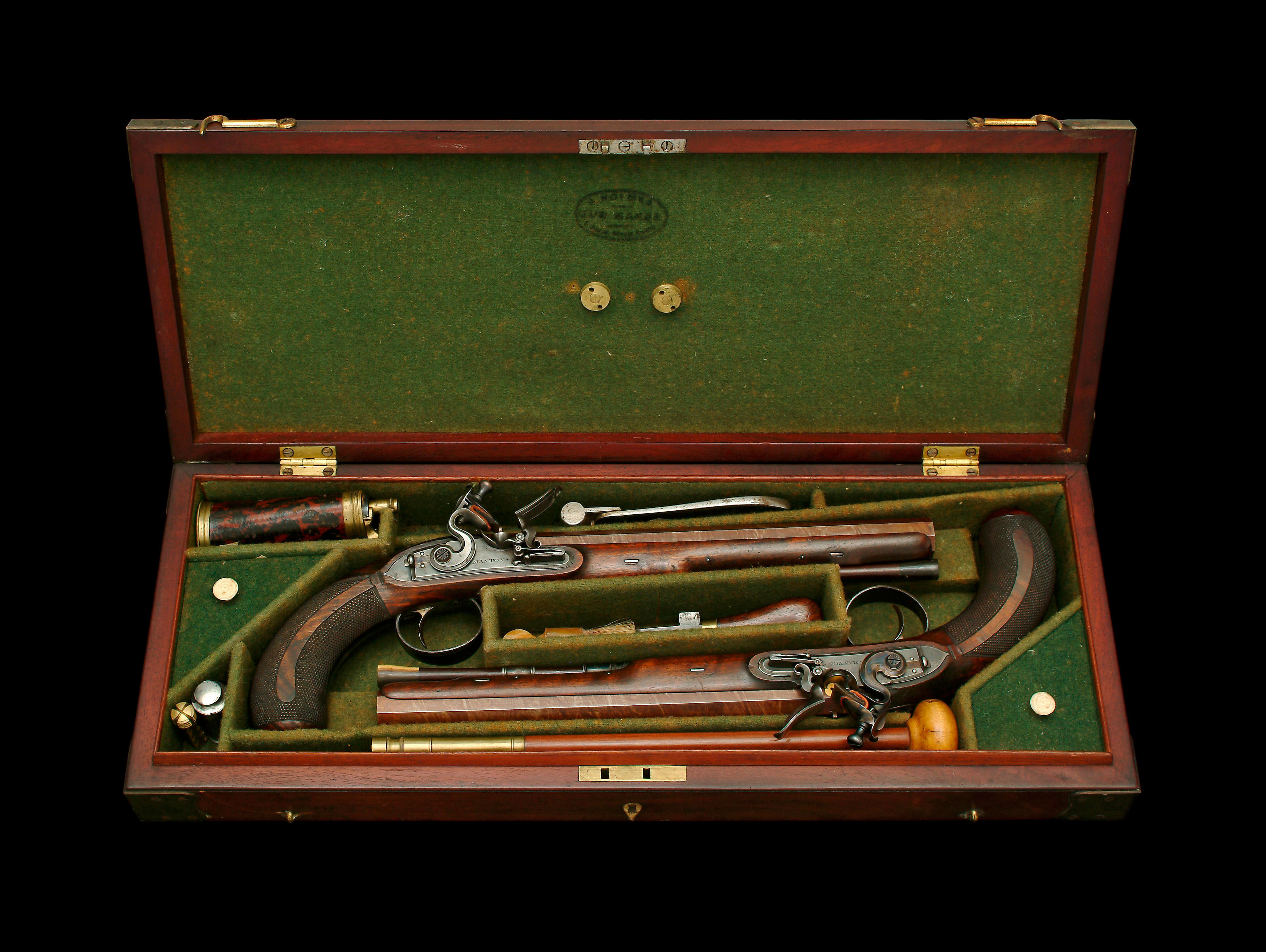 An Exceptional Cased Pair Of 28-Bore Early Flintlock Duelling Pistols By...
