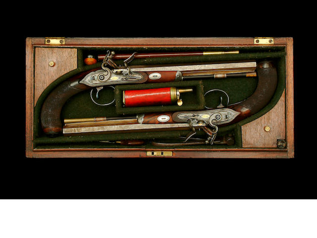 An Exceptional Cased Pair Of 32-Bore Irish Flintlock Duelling Pistols