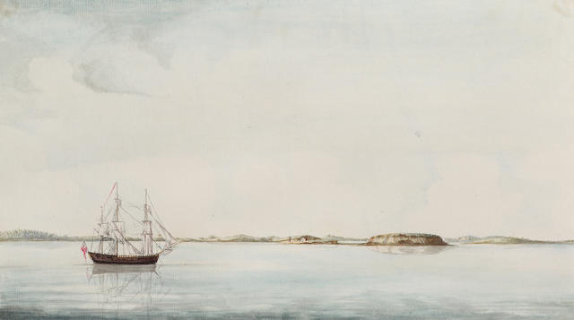 Richard Williams (British, c.1750-1776) The 'Empress of Russia' in coastal waters 22.2 x 38.7 cm. (8 3/4 x 15 1/4 in.) together with four other coastal landscapes by the same hand, unframed, (5).