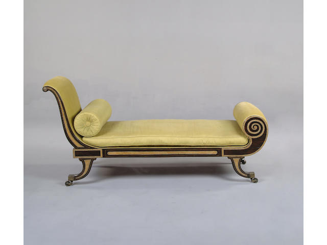 A Regency rosewood and inlaid chaise longue