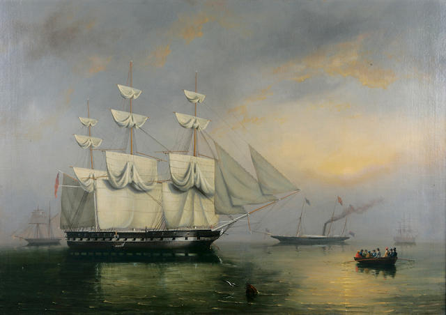 Philip John Ouless; Royal Yacht going through the Channel Experimental Fleet, oil on canvas