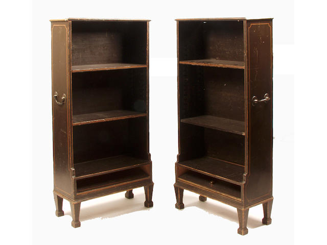 A pair of 19th Century painted pine waterfall bookcases