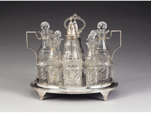 A George III silver cruet frame, by John Emes, London 1805,