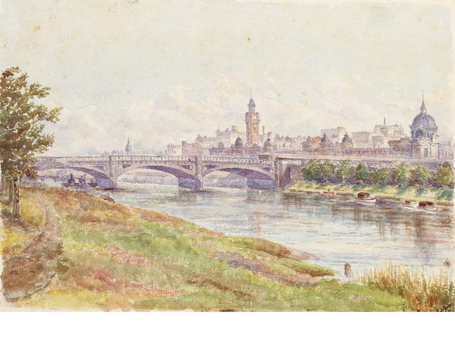 Frederick George Green (British, 1850-1927) Princes Bridge, Melbourne 17.8 x 25.4 cm. (7 x 10 in.)