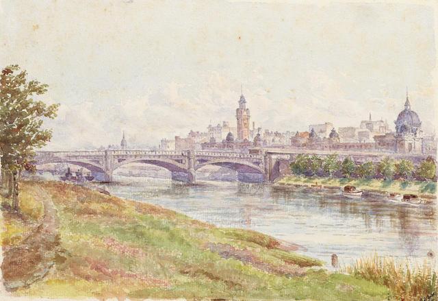 Frederick George Green (British, 1850-1927) Princes Bridge, Melbourne 17.8 x 25.4 cm. (7 x 10 in.)