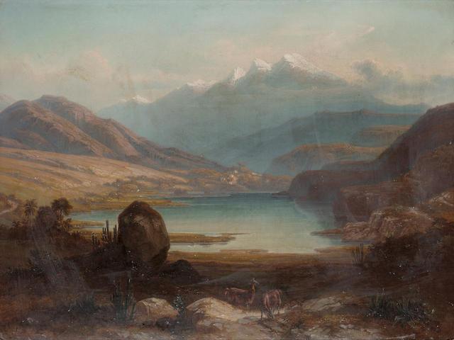 Ferdinand Bellerman (German, 1814-1889) Laguna de Urao, Venezuela 61 x 81.3 cm. (24 x 32 in.)