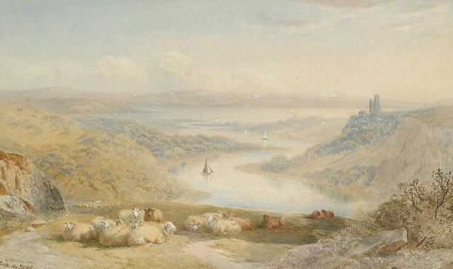 Cornelius Pearson (British, 1805-1891) and T.F. Wainewright (British, 19th Century) Sheep by a gorge