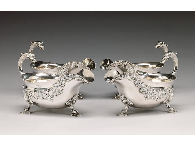 A set of four George II silver sauceboats by Amyé Videau, London 1748,